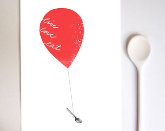 Art for Kitchen Red Balloon Live Love Eat / high quality fine art print