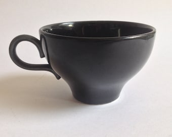 4 Vintage Black Ceramic / Pottery Tea Cups