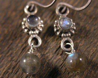 Labradorite gemstones and solid sterling silver handmade earrings