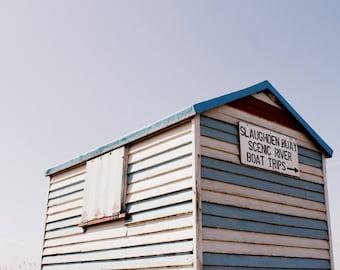 Seaside Print - Striped Pastel Hut Fine Art Photograph - English Seaside - Beach Decor - Summer Art