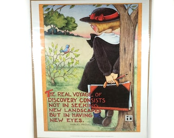 "Vintage Mary Engelbreit Poster, 1991 - Marcel Proust Quote, ""The Real Voyage of Discovery..."""