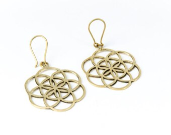 Brass Seed of Life Earrings, Earrings handmade,Yoga Earrings with hooks, Nickel Free, Indian Jewellery, Gift boxed,Free UK post BG2