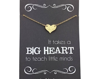 "Teacher gifts - Small Silver or Gold Hammered Heart Necklace - Teacher appreciation carded gift ""It takes a big heart to teach little minds"""