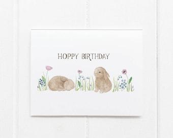 Bunny Birthday Card / Birthday Card / Girls Birthday Card / Bunnies Card / Hoppy Birthday Card / Happy Birthday Card / Baby Bunny Card