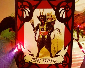 Glittered Merry Krampus Holiday Greeting Card