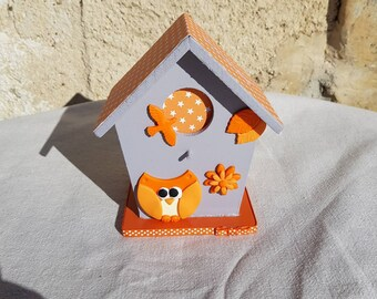piggy bank birdhouse with OWL (ref TC012)