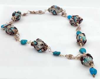 Sterling Silver, Turquoise Stone & Handmade Polymer Beads Drop Necklace