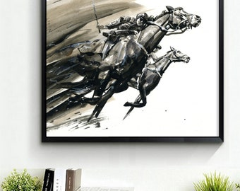 PRINT, 'To the finish line'', Race Horses,Watercolour,Mixed Media, Limited Edition. Horse painting, Black& White,
