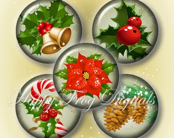 Christmas -  12, 14, 16, 18, 20 mm circles - Digital Collage Sheet - 301 HFD - Printable Download - Instant Download