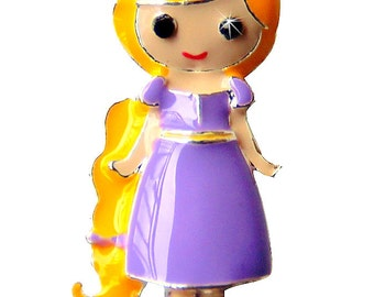 1.25 inches ONE Character Enamel Flat back Center - Rapunzel