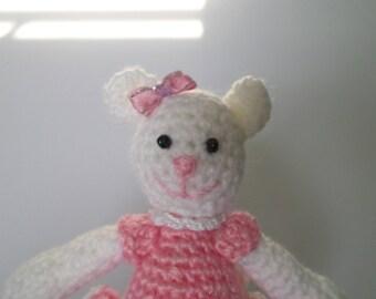 Ballerina Doll, Bear Crochet Toy, Ballerina Toy, White Bear Doll, Gift For Girls, Crochet Doll