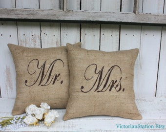 Mr and Mrs Burlap pillow set