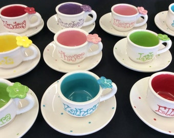 Child's Personalized flower tea cup party favor