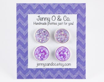 Lavender Druzy Studs, Lavender Earrings, Purple Druzy Studs, Lavender Studs, Purple Stud Sets, Purple Studs, Druzy Studs, Faux Druzy Studs