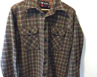 Mens New Zealand Wool Outdoors Shirt, 1970s, New Zealand, Medium Mens, Swanndri, Mens Shirt, Wool, Hunting Shirt, Bush, Lumberjack, Mens, D