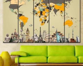 Typography painting etsy multi panel world map world map on canvas wall art world map painting print gumiabroncs Choice Image