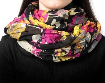 Infinity scarf, tube scarf, snood, loop scarf, floral print, women's tube scarf, yellow, blue, pink, ladies scarf, wrap scarf