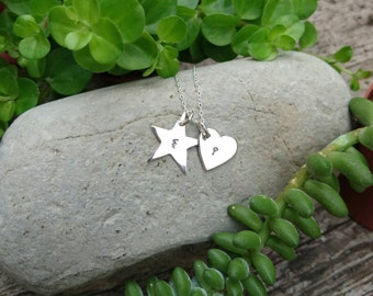 Personalised Heart & Star Charm Necklace