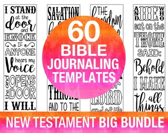 60 bible journaling printable templates, NEW TESTAMENT, illustrated faith journaling, bible verse study bookmarks stickers, prayer journal