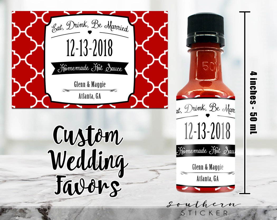 Custom Hot Sauce Favors Personalized Labels Empty 50 Ml