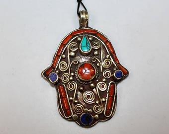 Nepal Pendant, Tibetan Jewelry, Fatimas Hand, Hamsa Pendant with Coral, Lapis and Turquoise, Ethnic Jewelry, Asian Jewelry
