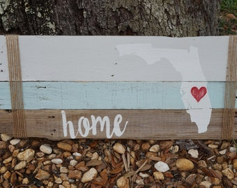 Rustic HOME pallet state sign, PERSONALIZED State Sign, State Pallet Sign, Reclaimed Wood Sign, Housewarming Gift, Home Sign, pallet Art