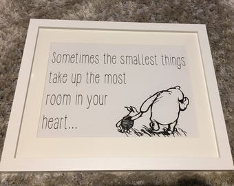 Winnie the Pooh monochrome nursery or childs room decor. Sometimes the smallest things take up the most room in your heart.