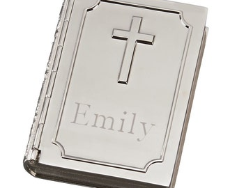 Box, Book Shape, Rosary Box, with Cross and  Free Engraving