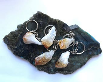 Natural Citrine crystal point keychain for Abundance and Luck