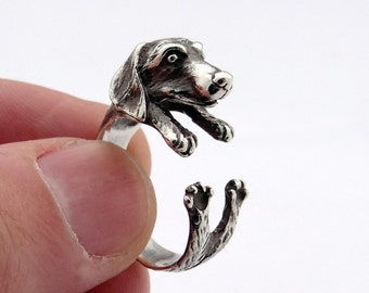 Silver Dachshund Ring, Sterling Silver Ring, Silver Dachshund Jewelry, Animal Ring, Anneau de Teckel, Dackel Ring, Anello Bassotto