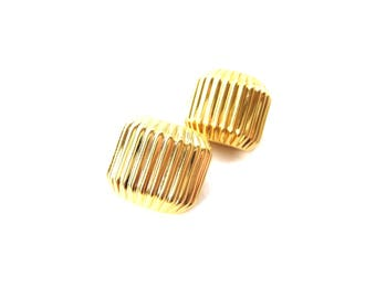 Pair of 1980's Vintage Signed Joan Rivers Chunky Gold Tone Metal Ribbed Dome Clip On Earrings