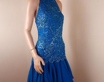 oleg cassini silk dress, beaded silk dress,
