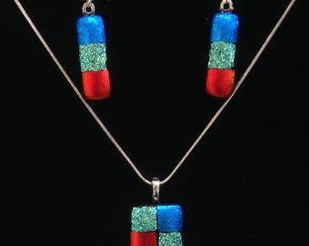 Dichroic Glass Pendant & Earrings Set Red Silver Blue Art Glass
