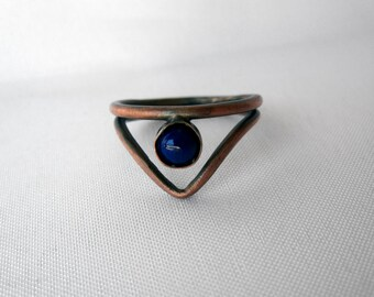 Copper and Lapis Bohemian Ring - Custom Sizes - Stacking Blue Crystal Ring - Healing Stone Jewelry