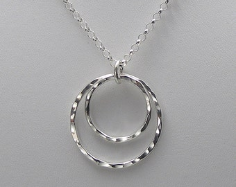 Double Open Circle Necklace, Silver Circle Necklace