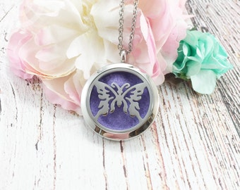 Essential oil diffuser necklace, butterfly locket,filigree locket diffuser, Aromatherapy, Doterra, Young Living, Pendant, Necklace, Jewelry