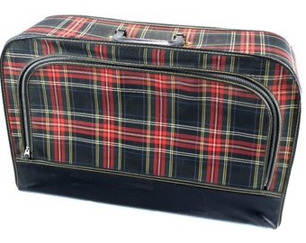 Vintage Luggage Red and Black Plaid Soft Side Suitcase