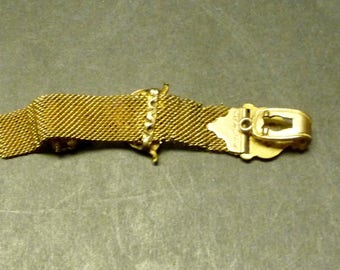 Antique Watch Fob- Woven Gold Mesh with Emblem - blank initial fob