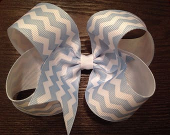 Baby Blue and White Chevron Bow