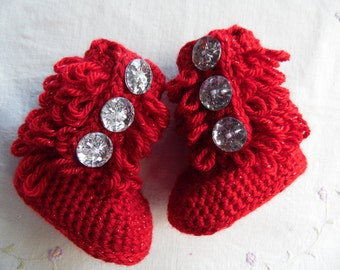 Baby Boots ( Furrylicious) Red or White  Boots  MADE-TO-ORDER, Newborn Baby Boots, Baby Gift, Hand Crocheted Baby Boot, White Baby Boot,