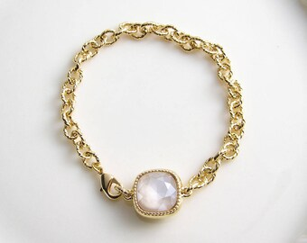 Swarovski Cushion Cut Bracelet ~ Square Crystal Bracelet ~ Ivory Cream ~ Bridesmaid Gift ~ Solitaire Bracelet ~ Chunky Bracelet