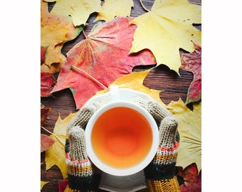Autumn photo Autumn leaves photo Fall leaves photo Cup of tea photo Hands holding a cup Autumn photo art Autumn photo decor Cup of tea decor