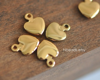 10pcs Gold plated Brass Heart Charms Beads 11mm (GB-014)