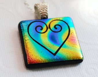Rainbow Heart Fused Glass Pendant, Dichroic Glass Pendant, Etched Heart Swirl