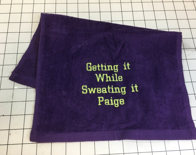 Personalized, workout towel, weight lifting, cardio, exercise towel, yoga, exercise gift, gym towel, fitness, embroidered towel, 11 x 16