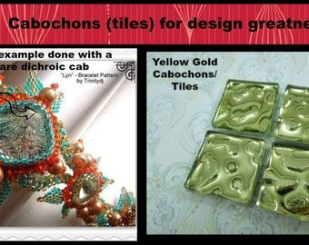 T-008 - Yellow Gold Glass Cabochons (4) - 22 x 22 mm - Perfect for bead embroidery, wire wrapping and scrapbooking