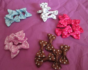 x 25 bows with polka dots fabric in 5 colors 30 x 15mm #c