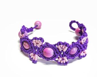 Macrame Beaded Bracelet Purple Butterfly