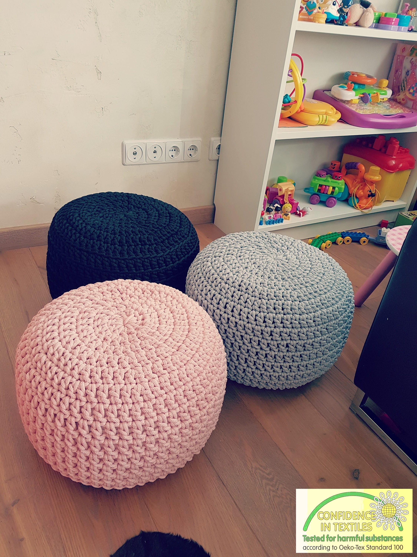 Pale Pink Gray Black Hand Crochet Pillow Ottoman Pouf Kids