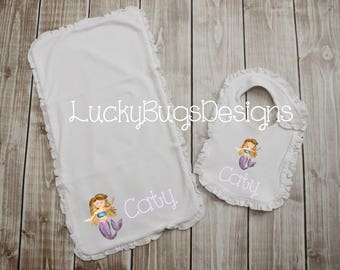 New Baby Bib and Burp Cloth Gift set- baby girl with Mermaid